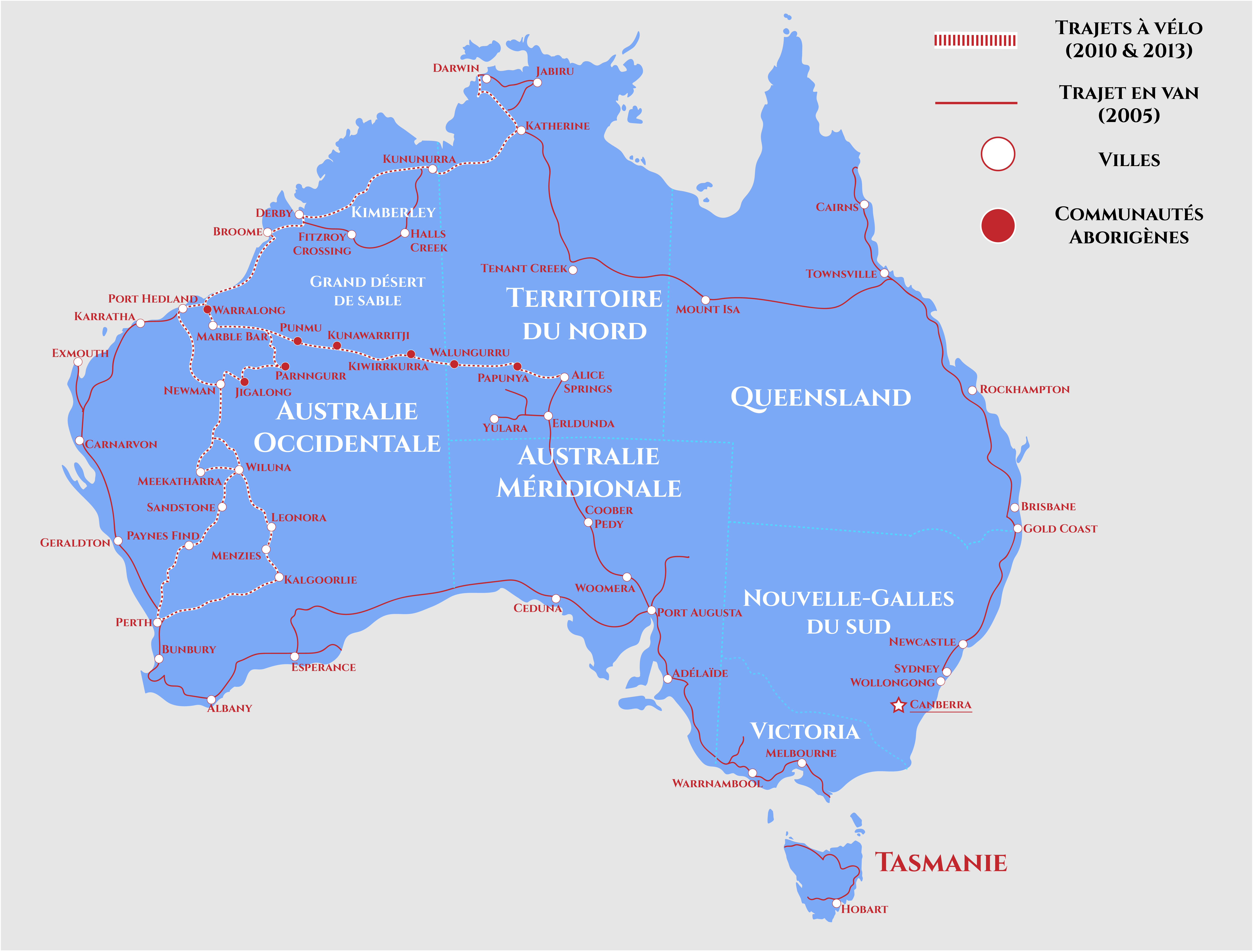 Carte Australie vélo1